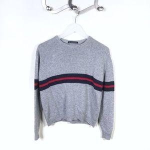 Brandy Melville Bernadette Grey Red Stripe Sweater